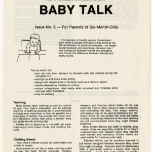 Baby talk: issue no. 6 - for parents of six-month-olds (Home Extension Publication 242-6)