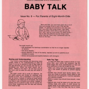Baby talk: issue no. 8 - for parents of eight-month-olds (Home Extension Publication 242-8)