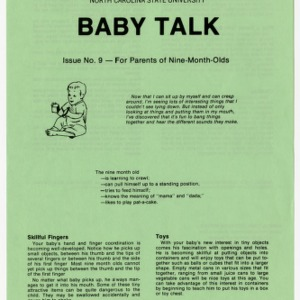 Baby talk: issue no. 9 - for parents of nine-month-olds (Home Extension Publication 242-9)
