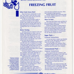Brief instructions for freezing fruit (Home Extension Publication 246)