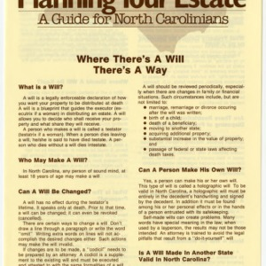 Planning your estate a guide for North Carolinians: where there's a will there's a way (Home Extension Publication 273-2)