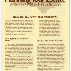 Planning your estate a guide for North Carolinians: how do you own your property? (Home Extension Publication 273-4)