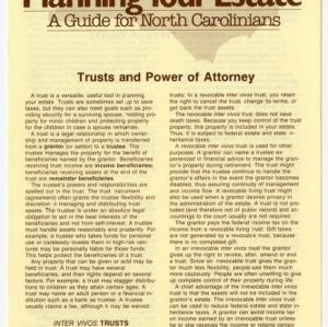 Planning your estate a guide for North Carolinians: trusts and power of attorney (Home Extension Publication 273-7)