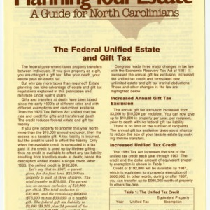 Planning your estate a guide for North Carolinians: the federal unified estate and gift tax (Home Extension Publication 273-9)