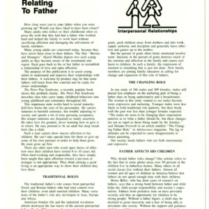 Interpersonal relationships: relating to father (Home Extension Publication 276-7)