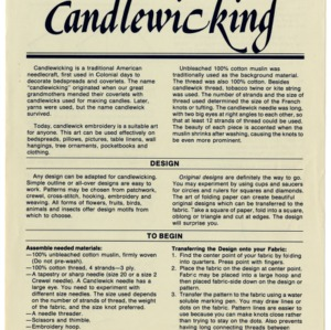 Candlewicking (Home Extension Publication 279-1)
