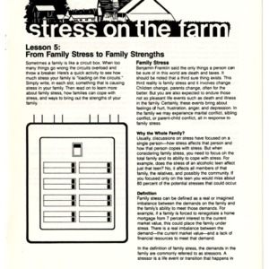 Stress on the farm: lesson 5, from family stress to famliy strengths
