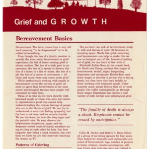 Grief and growth: bereavement basics (Home Extension Publication 316-1)
