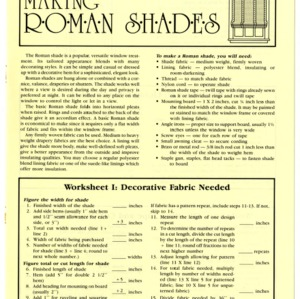 Making Roman shades (Home Extension Publication 320)