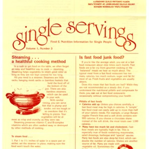 Single servings: food and nutrition information for single people, volume 1, number 3 (Home Extension Publication 327-3)