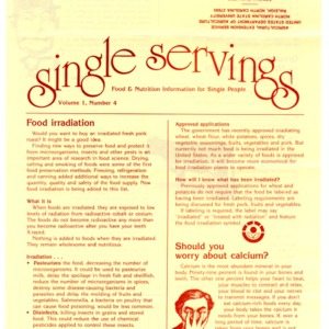 Single servings: food and nutrition information for single people, volume 1, number 4 (Home Extension Publication 327-4)