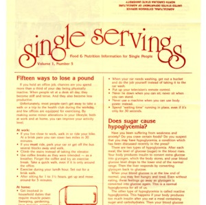 Single servings: food and nutrition information for single people, volume 1, number 5 (Home Extension Publication 327-5)