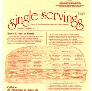 Single servings: food and nutrition information for single people, volume 1, number 6 (Home Extension Publication 327-6)