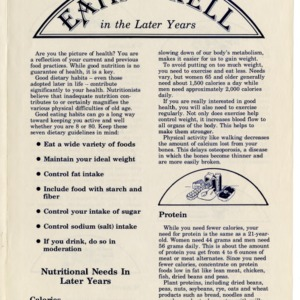 Eating well in the later years (Home Extension Publication 328-4-90, Reprint)