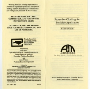 Protective clothing for pesticide application: a user's guide (Home Extension Publication 381)