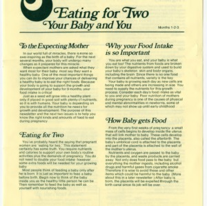 Eating for two, your baby and you: months 1-2-3