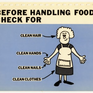 Before handling food, check for... (Expanded Food and Nutrition Education Program 50 a-2, Teaching Series)