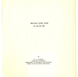 Individual federal income tax law for 1983 (Agricultural Extension Publication 297)