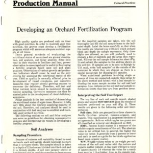 N.C. apple production manual: developing an orchard fertilization program (Agricultural Extension Publication 309)