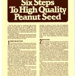 Six steps to high quality peanut seed (Agricultural Extension Publication 320)