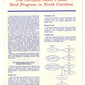 The certified sweet potato seed program in North Carolina (Agricultural Extension Publication 330)