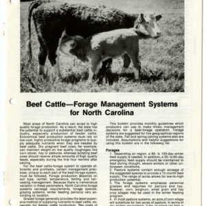 Beef cattle -- forage management systems for North Carolina: Coastal Plain (Agricultural Extension Publication 342-1)