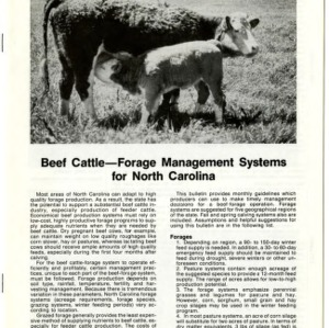 Beef cattle -- forage management systems for North Carolina: Mountains (Agricultural Extension Publication 342-2)