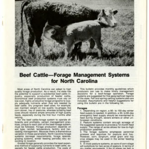 Beef cattle -- forage management systems for North Carolina: Tidewater (Agricultural Extension Publication 342-5)