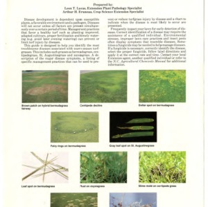 Diseases of warm-season grasses (bermudagrass, centipedegrass, st. augustinegrass and zoysiagrass) (Agricultural Extension Publication 360)
