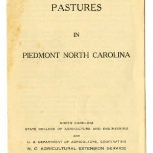Building permanent pastures in Piedmont North Carolina (Extension Folder No. 28)