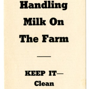 Handling milk on the farm (Extension Folder No. 64, Reprint)