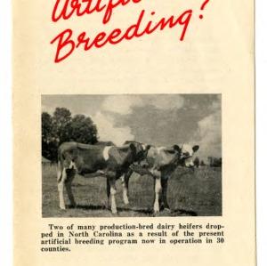 Why artificial breeding? (Extension Folder No. 73, Reprint)