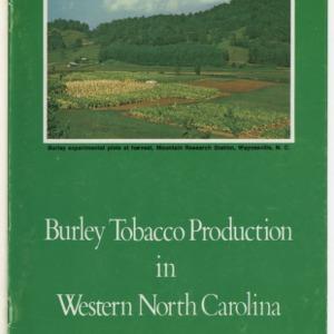 Burley tobacco production in Western North Carollina (AG-190)