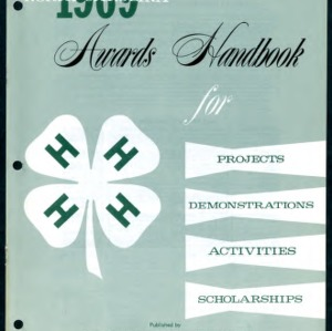 North Carolina 4H Awards Handbook 1969 for Projects, Demonstrations, Activities, Scholarships (4-H Publication 0-1-10, Revised)