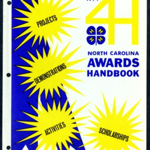 North Carolina 4H Awards Handbook 1971 for Projects, Demonstrations, Activities, Scholarships (4-H Publication 0-1-10, Revised)