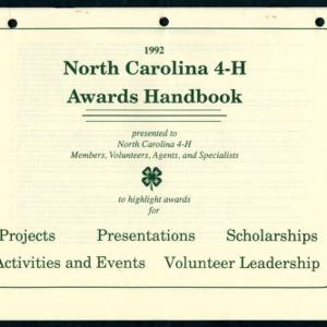 North Carolina 4-H Awards Handbook 1992 (4-H Publication 0-1-10, Revised)