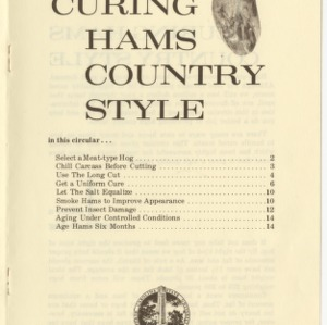 Curing hams country style (Agricultural Extension Publication 070, Reprint)