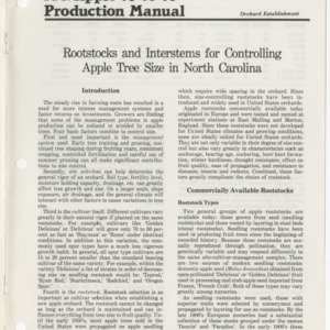 N.C. apple production manual, orchard establishment: Rootstocks and interstems for controlling apple tree size in North Carolina (Agricultural Extension Publication 292)
