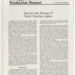 N.C. apple production manual, storage and marketing: Harvest and storage of North Carolina apples (Agricultural Extension Publication 293)