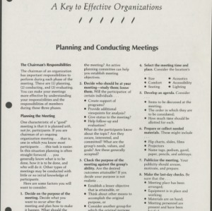 A Key to Effective Organizations 5: Planning and Conducting Meetings (CD-14-G)