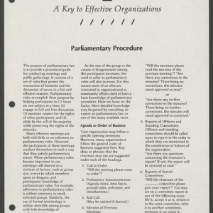 A Key to Effective Organizations 6: Parliamentary Procedure (CD-14-H)