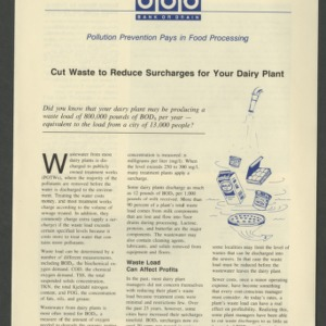 Cut waste to reduce surcharges for your dairy plant (Pollution Prevention Pays in Food Processing series) (CD-26)