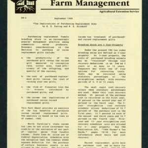 Extension Economics Fact Sheet -- Farm Managment: Tax Implications of Purchasing Replacement Sows (FM-2)