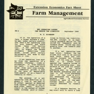 Extension Economics Fact Sheet -- Farm Managment: Net Operating Losses Can Reduce Tax Liability (FM-4)