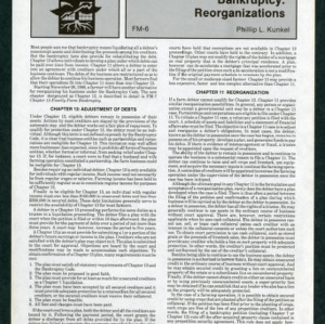 Bankruptcy: Reorganizations (FM-6)