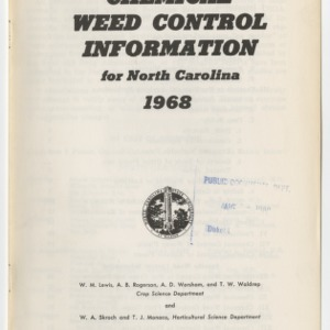 Chemical Weed Control Information for North Carolina 1968  (Extension Leaflet No. 124)