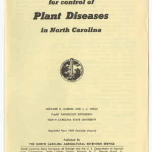 Chemicals for Control of Plant Diseases in North Carolina (Extension Leaflet No. 153)