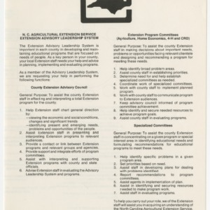 N.C Agricultural Extension Service Extension Advisory Leadership System (AM-19)