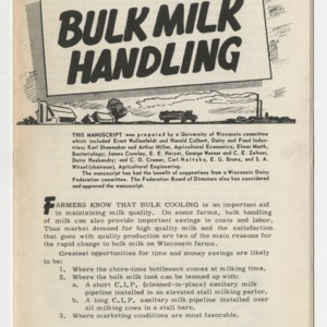 Bulk Milk Handling (University of Wisconsin Extension Service  Circular No. 510)