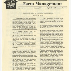 What is the value of flue-cured tobacco quota? (Extension Economics Fact Sheet) (Farm Management-1)